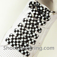 Black White Checkered Shoe Laces Shoe Strings 2Pairs