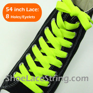 Neon Yellow Wide/Fat Flat 54INCH ShoeString ShoeLaces 2Pairs