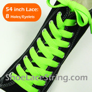 Neon Green Wide/Fat Flat 54INCH Shoe Laces Shoe Strings 2Pairs