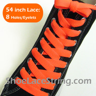 Neon Orange Fat 54IN Lace Neon Orange Flat Wide Shoe String 2PRs