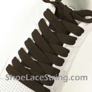 Brown 54INCH Fat Laces Brown Flat Wide/Fat Shoe Strings 2Pairs