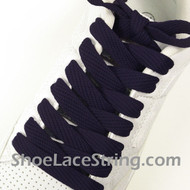 "Navy Blue Fat 54"" Laces Navy Blue Flat Wide/Fat Shoe String 2PRs"