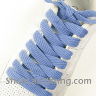 "Light Blue Fat 54"" Lace Light Blue Flat Wide/Fat ShoeString 2PRs"