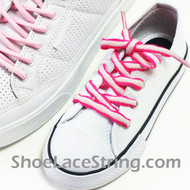 Kids Hot Pink White ShoeLace HotPink White ShoeString 2Pairs