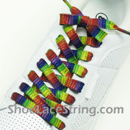 Rainbow Glitter Shoe Laces Rainbow Stripe Shoe Strings 2Pairs