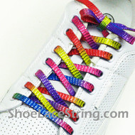 Thin Rainbow Glitter ShoeLaces Rainbow Stripe ShoeStrings 2Pairs