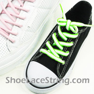 Kids Neon Green and White Squiggle ShoeLaces Shoe Strings 2Pairs