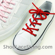 Kids Red Round Shoe Laces Red Round Shoe Strings 2Pairs