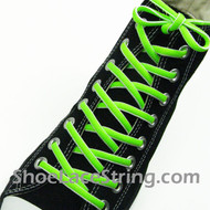 Neon Green White Oval Shoe Lace Oval Shoe String 2Pairs
