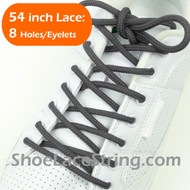 "Charcoal Gray Round 54"" ShoeLace Dark Grey Round ShoeString 2PRs"