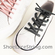 Charcoal Gray Kid Oval ShoeLace Dark Grey Oval ShoeString 2Pairs