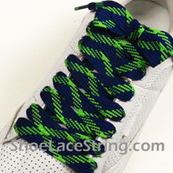 Neon Green and Blue Fat Laces Wider Shoe Strings 54INCH 2PAIRS