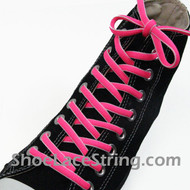 Neon Hot Pink and White Oval Shoe Lace Oval Shoe String 2Pairs