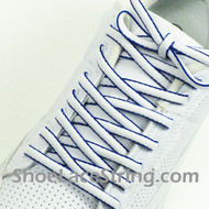 White Blue Oval ShoeLace White Royal Blue Oval ShoeString 2Pairs