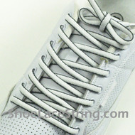 White and Charcoal/Dark Gray Oval Shoe Laces ShoeString 2Pairs