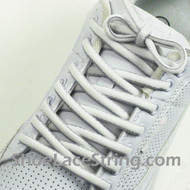 White Light Gray Oval Shoe Laces White Grey Shoe Strings 2Pairs