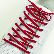 Red and White Oval Shoe Laces Red White Shoe Strings 2Pairs