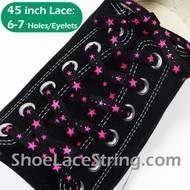 Neon Hot Pink Stars Black Cool Shoe Lace Shoe String 45INCH 2PRS