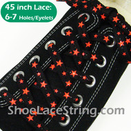 Neon Orange Stars on Black Cool ShoeLaces ShoeString 45INCH 2PRS