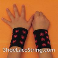 Red Flowers on Black Cute Kids Wrist Bands for Party,  2PAIRS