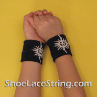 Black with the White Sun Symbol Kid Wrist Bands for Party, 2PRs