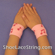 Pink Music Notes Cute Kids Wrist Bands for Party,  2PAIRS
