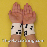 White Black Music Notes Cute Kids Wrist Bands for Party,  2PAIRS