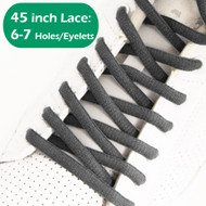 Charcoal Gray 45IN Oval ShoeLaces Dark Grey Oval ShoeString 2PRs