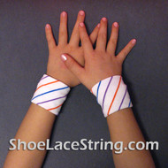 White Striped Cute Kid's Wrist Bands for Party,  2PAIRS