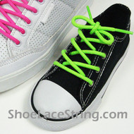 Neon Green Kids/27IN Round Shoe Lace NeonGreen ShoeString 2Pairs