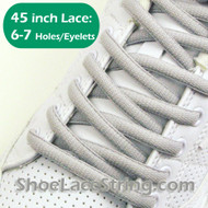 Light Gray/Grey Oval 45IN ShoeLaces Oval ShoeStrings 2PRs