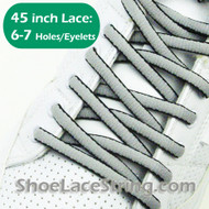 Light Gray(Grey) & Black Oval 45IN ShoeLace Oval ShoeString 2PRs