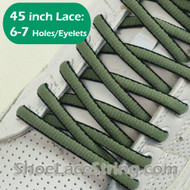 Olive Green and Black Oval 45IN ShoeLace Oval ShoeString 2PRs