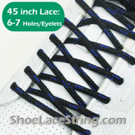 Black and Blue Round 45INCH Shoe Laces Round Shoe Strings 2PARRs