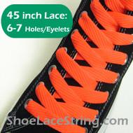 Neon Orange Flat Fat/Wide 45INCH Shoe Laces ShoeStrings 2PRs