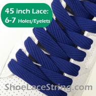 Blue Flat Fat/Wide 45INCH Shoe Laces Shoe Strings 2PRs