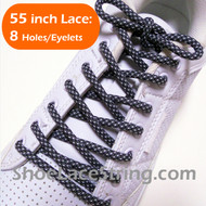 Charcoal Gray and White 55INCH Round ShoeLace Strings 2Pairs