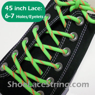 Neon Green & Neon Orange 45INCH Round ShoeLaces String 2Pairs