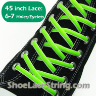 Neon Green & White Oval 45INCH ShoeLaces ShoeStrings 2PRs