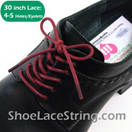 Maroon 30INCH Dress Shoe Laces Round Thin ShoeStrings, 1PAIR