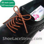 Tan 30INCH Dress Shoe Laces Round Thin Shoe String, 1PAIR