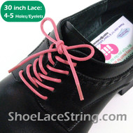 Pink 30INCH Dress Shoe Lace Round Thin Shoe Strings, 1PAIR