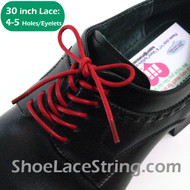 30INCH Red Round Thin Dress Shoe Laces Strings, 1PAIR