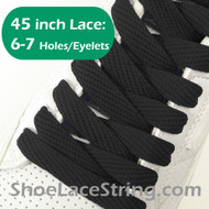 Black Flat Fat/Wide 45INCH ShoeLaces Sneaker Strings 2PRs