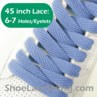 Light Blue Flat Wide FAT 45INCH ShoeLaces Sneaker Strings 2PRs