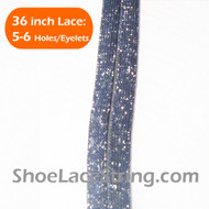 Glitter Sparkling Silver on Charcoal Grey ShoeLaces 36INCH 2PAIR