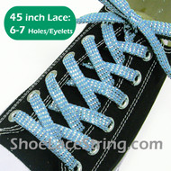 45IN Light Blue Sparkling Twinkled Sneaker/Shoe Laces 1Pair