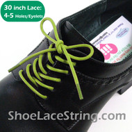 30INCH Lime Green Round Thin Dress Shoe Laces Strings, 1PAIR