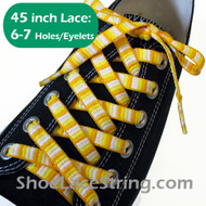 Yellow Woven Rainbow Striped 45inch Shoe Laces Strings 1Pair