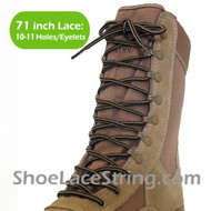Beige & Dark Brown 71IN Work/Combat Boots Round Stripe Laces